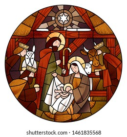 Circle stained glass with the Christmas and Adoration of the Magi scene in beige and brown colors