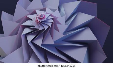 Circle tessellation origami. Folding background. 3D illustration