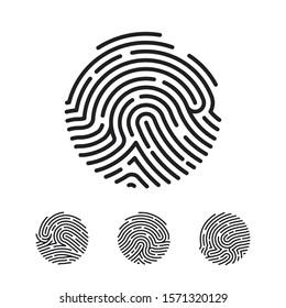 Circle Unique Fingerprint icon design for app. Finger print flat scan. illustration