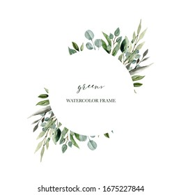 Circle watercolor foliage frame freens