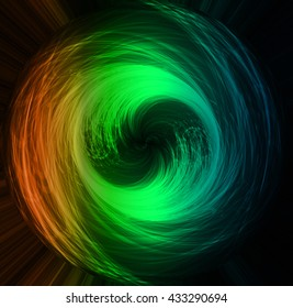 circle wave technology blue orange green equalizer background, wave spiral, braid, rotate, dial, swivel, roll