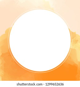 circle white on watercolor texture for banner background, white circle empty frame of water color orange, circle banner art frame mixed of multicolor, circle frame on orange colorful watercolor banner