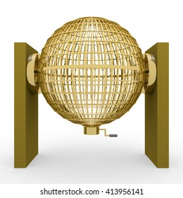 Circled golden lottery cage. National lottery. Loteria nacional. 3D rendering, 3d illustration