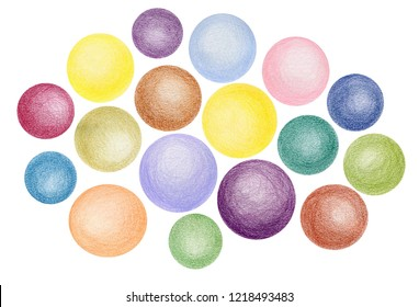 Circles, bright colors, color pencils, hand drawn, high resolution, isolated on white