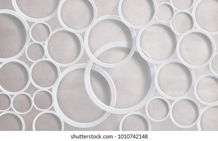 Circles on a white background.  Photo wallpaper for interior. 3D rendering.
