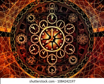 Circles of Time series. Abstract design made of clock symbols and fractal elements on the subject of science, education and prediction