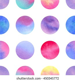 Circles. Watercolor geometric seamless pattern, big circles different colors, watercolor gradient, white background.