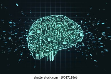Circuit AI brain on digital connection background. Artificial intelligence and innovate concept. 3D Rendering