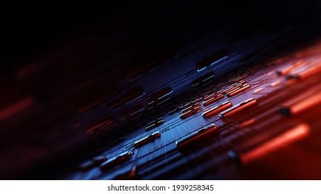 Circuit-Board-Hintergrund, kann als digitale dynamische Hintergrundbilder, Technologie-Hintergrund. 3D Render abstrakter Hintergrund aus einer Reihe von Punkten und Linien. 3D-Rendering