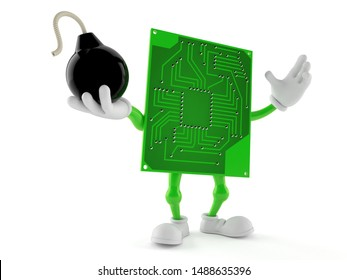 Circuit board character holding bomb isolated on white background. 3d illustration
