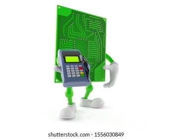 Circuit board character holding credit card reader isolated on white background. 3d illustration