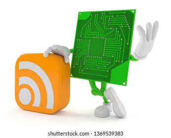 Circuit board character with RSS icon isolated on white background. 3d illustration