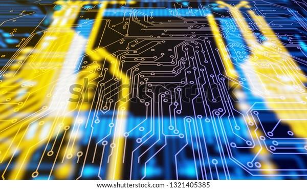 Circuit Board Futuristic Code Processing Yellow Stock