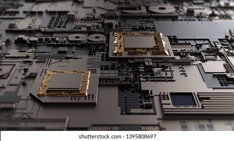 Circuit board futuristic server code processing. Orange,  green, blue technology background with bokeh. 3d rendering/Printed circuit board futuristic server. 3d rendering
