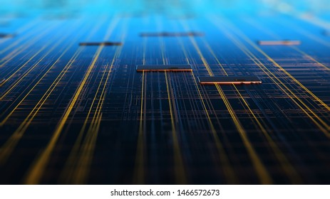 Circuit board futuristic server code processing. Orange,  green, blue technology background with bokeh/Printed circuit board futuristic server. 3d rendering