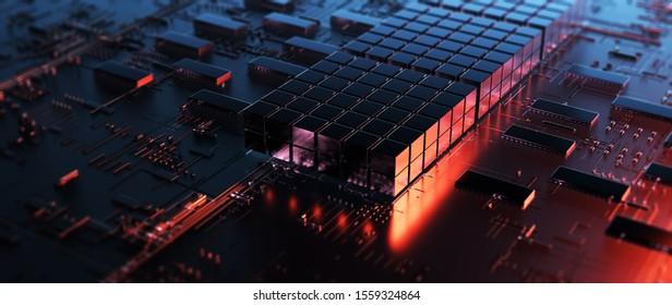 Circuit Board futuristische Server-Code-Verarbeitung. Orangefarbene, grüne, blaue Technologie-Hintergrund mit Bokeh/Printed Circuit Board Futuristic Server. 3D-Rendering