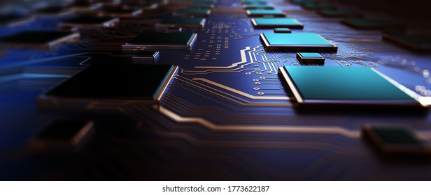Circuit board futuristic server code processing. Orange,  green, blue technology background with bokeh. Movement on the data download channel of the virtual motherboard of a computer. 3d rendering