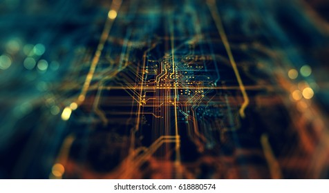 Circuit board futuristic server code processing. Orange,  green, blue technology background with bokeh. Printed circuit board futuristic server. 3D Rendering