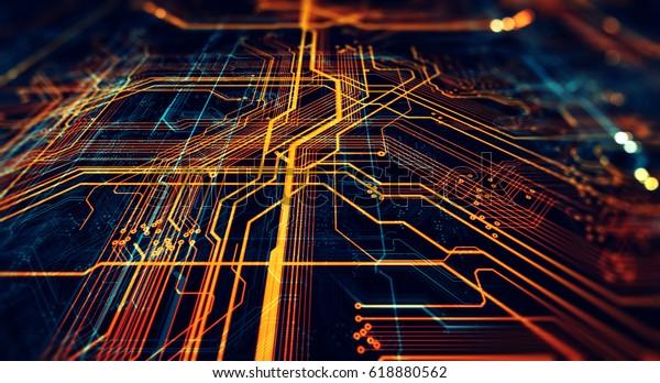 Circuit board futuristic server code processing. Orange,  green, blue technology background with bokeh. 3d Illustration/Printed circuit board futuristic server
