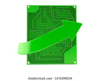 Circuit board with green arrow isolated on white background. 3d illustration