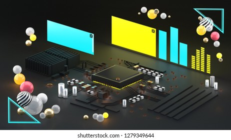 Circuit board and light sign on dark blackground for futuristic  and sci fi concept.3d rendering.