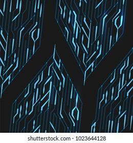 Circuit board with lights on the blue background, abstract technology illustration