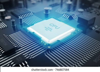 Circuit board. Technology background. Central Computer Processors CPU concept. Motherboard digital chip. Tech science background. Integrated communication processor. 3D Rendering