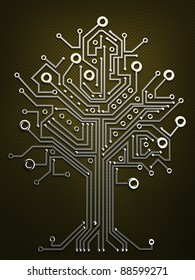 circuit board tree background 3d illustration. high resolution