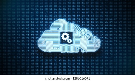 Circuit Cloud Computing on Blue HEX codes 3D illustration