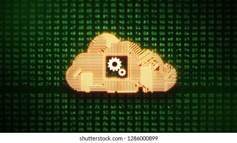 Circuit Cloud Computing on Green HEX codes 3D illustration