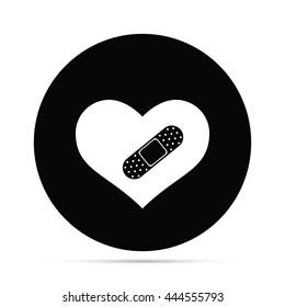 Circular Bandaged Heart Icon.  Raster Version