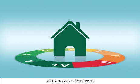 circular chart about energy efficiency, at the centre a stylized house (3d render)