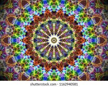 circular colourful decorative intricate abstract mandala design with intricate arabesque kaleidoscope motif