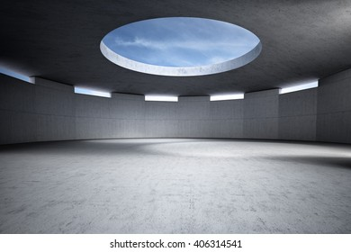 Circular concrete empty room Automotive showroom 3D rendering