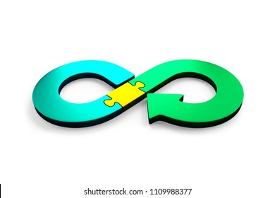 Circular economy concept. Arrow infinity symbol of jigsaw puzzle pieces, isolated on white background, 3D illustration.