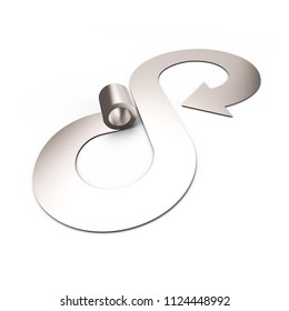 Circular economy concept. Gray metal roller and arrow infinity recycling symbol, isolated on white background, 3D illustration.