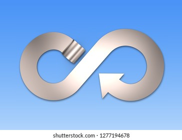 Circular economy concept. Gray metal roller and arrow infinity recycling symbol, isolated on blue background, 3D illustration.