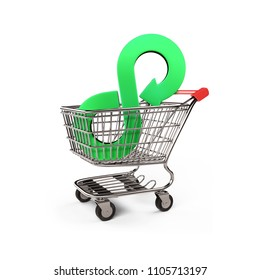 Circular economy concept. Green arrow infinity symbol on shopping cart, isolated on white background, 3D illustration.