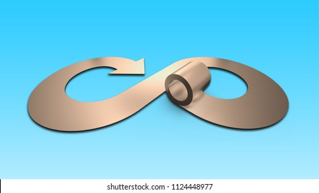 Circular economy concept. Metal roller and arrow infinity recycling symbol, isolated on blue background, horizontal, 3D illustration.