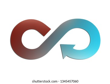 Circular economy concept. Sheet metal in arrow infinity recycling symbol with layered color of red and blue, isolated on white background. 3D illustration.