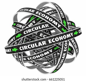 Circular Economy Cycle Roads Arrows 3d Illustration