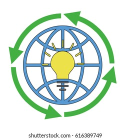 Circular economy product and material flow. Recycling concept. Save energy. Flat  illustration