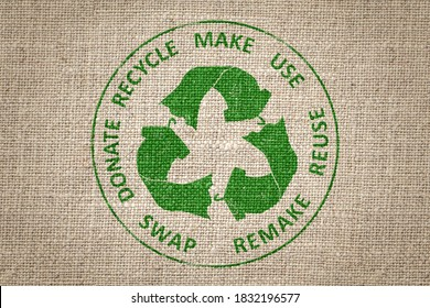 Circular Economy Textiles, make, use, reuse, swap, donate, recycle with eco clothes recycle icon sustainable fashion concept