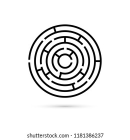 Circular maze with way to center. Business confusion and solution concept. Flat design. illustration isolated on white background
