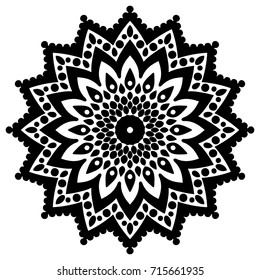 Circular ornament black and white color. Decorative element for design of textiles and printed materials. Template for engraving, embroidery, burning out on a tree and other creative