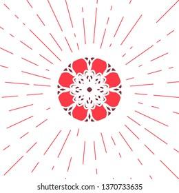 Circular ornamental sun symbol. Geometric emblem
