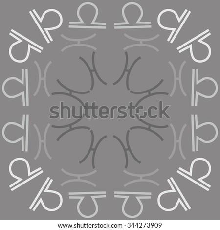 Circular Pattern Zodiac Motif Doodles Objects Stock