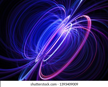 Circular Radiance Discharge - Electromagnetic Force Fields Torus Lines - Science Physics Model Background