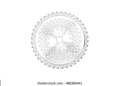 Circular saw on the concrete. Isolated on white background.Imitation of pencil drawing.