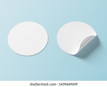 Circular shaped sticker mockup isolated on blue background 3D rendering